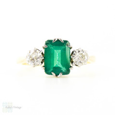 Emerald & Diamond Engagement Ring, Vintage Mossy Green Emerald with Old European Cut Sides. Circa 1920s, 18ct Mounting.