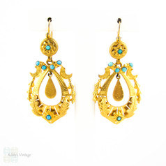 Antique 9ct Drop Earrings with Turquoise Paste. Victorian Leaf Design Articulated Dangle Earrings.
