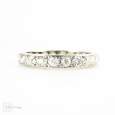 Antique Diamond Eternity Ring, Full Hoop Platinum Set Wedding Ring, 0.70 ctw. Circa 1900, Size K.25 / 5.5.