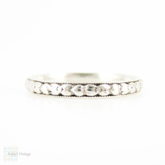 Art Deco Sterling Silver Engraved Wedding Ring, Floral Pattern Band with Milgrain Detail. Size Q / 8.25.