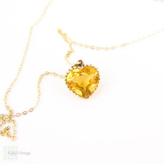 Antique Citrine Heart Pendant, Victorian Bright Sunshine Yellow Love Heart Charm in 9ct Gold with 10k Chain.