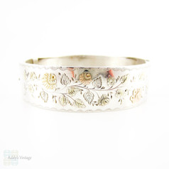 Victorian Silver & 9ct Gold Bangle Bracelet, Antique Bracelet with Rose, Green & Yellow Gold Flower Design. Circa 1880s.