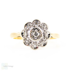 Vintage Diamond Daisy Engagement Ring, Floral Shaped Cluster Ring. 18 Carat Gold, Circa 1960s.