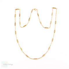 Edwardian Filigree Link Chain, 18ct Gold. Antique 18k Matinee Length Necklace. Circa 1900, French.