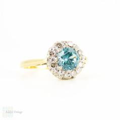 Vintage Blue Zircon & Diamond Ring, Retro 1960s Zircon with Diamond Halo Cluster Ring, 18 Carat Yellow Gold.