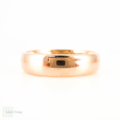 Antique 9ct Gold Wedding Ring, Circa 1910s Rose Gold Men's or Women's D Profile Band. Size O.5 / 7.5.