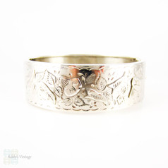 Antique Victorian Sterling Silver Bracelet, Engraved Morning Glory Flower Blossom Bangle. Full English Hallmarks, 1880s.