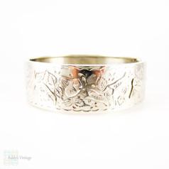 Antique Victorian Sterling Silver Bracelet, Engraved Morning Glory Flower Blossom Bangle. Full English Hallmarks, 1880s.