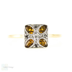 Art Deco Citrine & Diamond Engagement Ring, Square Ring with Pear Cut Yellow Citrines. Circa 1930s, 18ct & PLAT.