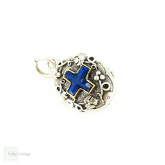 Antique Silver & Lapis Lazuli Locket, Edwardian French Pendant with Cherub and Grape Leaf Design, Circa 1900.