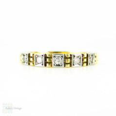 Vintage Diamond Wedding Ring, Half Hoop Eternity Band with Square Design. 18ct & Platinum, Circa 1940s.