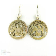 Antique US Coin Earrings, Silver 1870s Pierced American Quarters on Sterling Ear Wires.