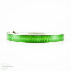 Antique Green Guilloché Enamel Bangle Bracelet, Spring Green & Silver Bracelet. Circa Early 1900s.