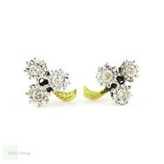 Shamrock Diamond Earrings, Old Cut Diamonds in Clover Trefoil Design. Illusion Set 18ct Gold, Circa 1940s.