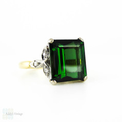 Vintage Green Tourmaline & Diamond Engagement Ring, 1940s Square Step Cut Gem in Leaf Shape 18ct Setting.