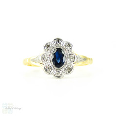 Vintage Sapphire & Diamond Engagement Ring, Oval Shape Sapphire with Diamond Halo. 18ct & PLAT, Circa 1940s.