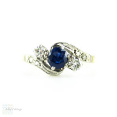 Art Deco Sapphire & Diamond Engagement Ring, Three Stone Ring in Engraved Twist Design Setting. Circa 1930s, 18ct PLAT.
