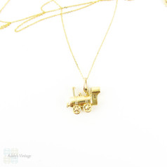 Vintage 9ct Train Charm, Circa 1960s 9k Yellow Gold Steam Locomotive Pendant on Chain.