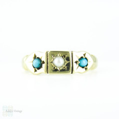 Vintage Turquoise Paste & Cultured Pearl 9ct Gold Ring, Circa 1980s.