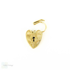 Engraved 9ct Gold Heart Clasp Charm, 1970s English Hallmarked Yellow Gold Pendant.