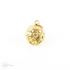 Antique Engraved Sphere Charm, Victorian Floral Scroll Design 9ct Ball Pendant. Circa 1880s.