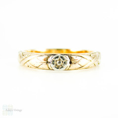 Antique Engraved Floral Wedding Ring, Ladies Art Nouveau Two-Tone 14k Flower Band. Size N.5 / 7.