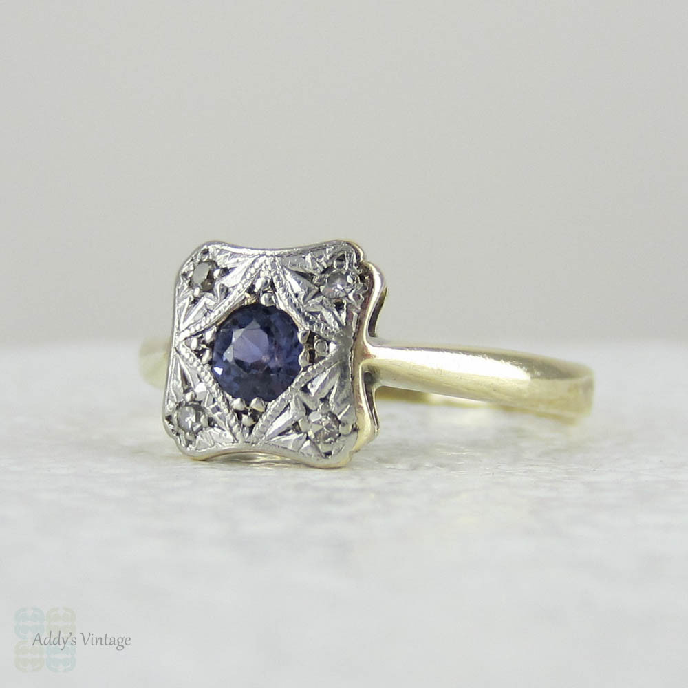 Vintage Sapphire & Diamond Engagement Ring Blue Sapphire Set in Square S
