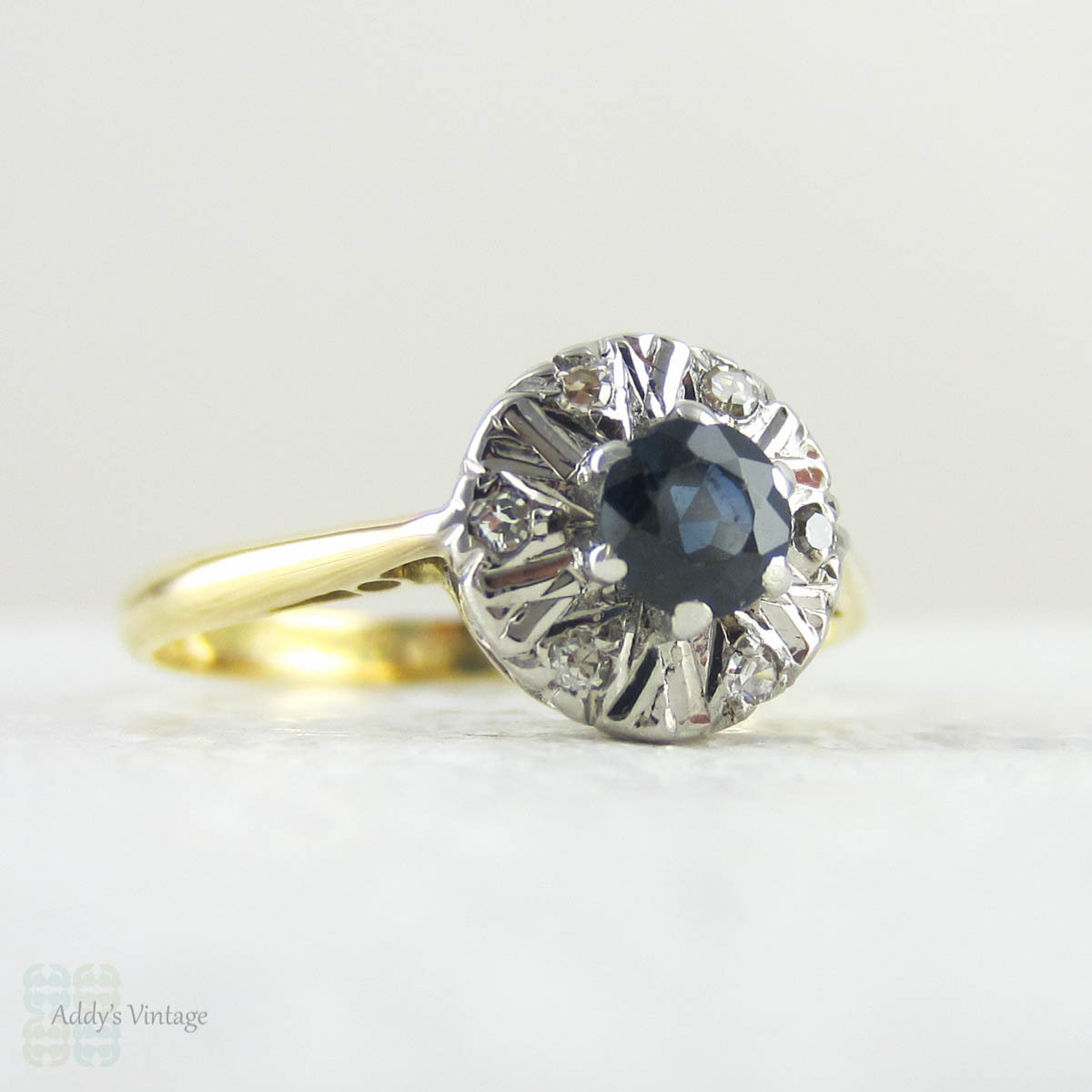 Vintage Sapphire Ring with Diamond Halo Cluster Style Sapphire