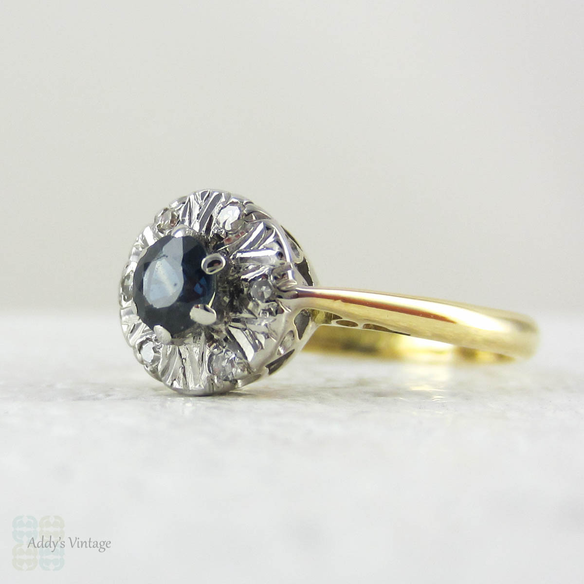 Vintage Sapphire Ring with Diamond Halo Cluster Style Sapphire & Diamond