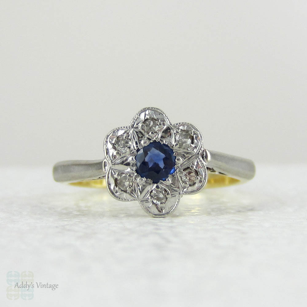 sapphire diamond daisy engagement ring vintage diamond ring flower shaped cluster ring in 18. Black Bedroom Furniture Sets. Home Design Ideas