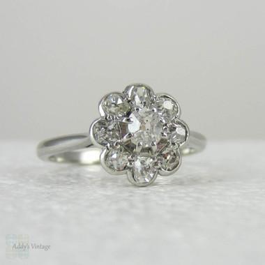 antique engagement ring old mine cut diamonds in platinum daisy flower shape antique diamond. Black Bedroom Furniture Sets. Home Design Ideas