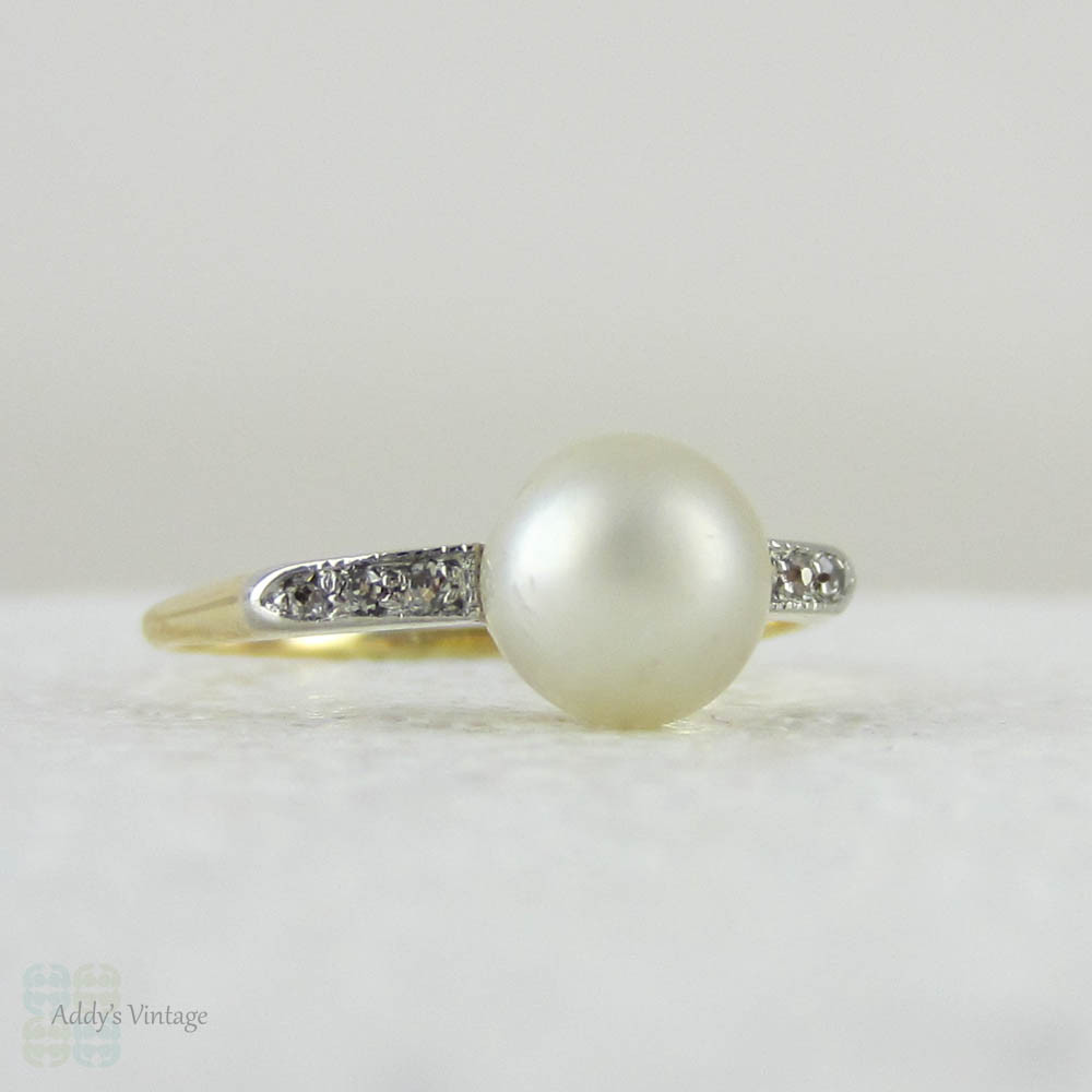 Antique Cultured Pearl & Diamond Engagement Ring Dainty Single Pearl Rin