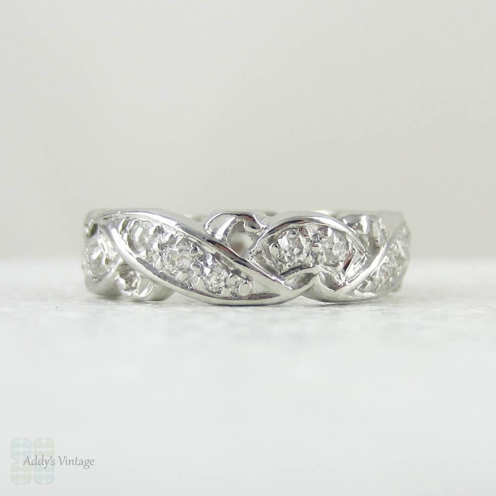 vintage platinum eternity ring wide floral
