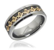 8mm - Men's Freemason Ring / Masonic Ring - Gold and Black Inlay Tungsten Ring Comfort Fit