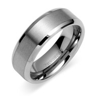 8mm - Tungsten Carbide Unisex or Men's Wedding Band Ring in Comfort Fit. Silver Tone Matte Finish