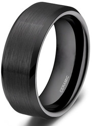 8mm - Unisex or Men's Wedding Bands. Black Ceramic Rings Brushed Comfort Fit Wedding Band