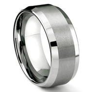 8mm - Unisex or Men's Tungsten Men's Wedding Band Ring in Comfort Fit and Matte Finish Angled Beveled Edges