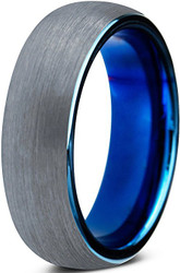 6mm - Unisex, Women's or Men's Tungsten Wedding Band Ring. Comfort Fit Blue Round Domed Brushed. Unisex Wedding Bands