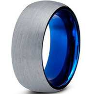 8mm - Unisex or Men's Tungsten Wedding Band. Gray and Blue Round Domed Brushed. Comfort Fit Ring