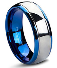 8mm - Unisex or Men's Tungsten Wedding Band. Blue and Silver Dome Gunmetal Bridal Ring. Tungsten Carbide Wedding Ring. Mens Jewelry