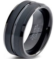 8mm - Unisex or Men's Wedding Band. Tungsten Wedding Band Ring for Men Women Comfort Fit Black Beveled Edge Polished Brushed