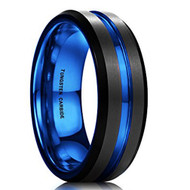 7mm - Unisex or Men's Tungsten Wedding Band. Black Matte Finish Tungsten Carbide Ring with Blue Beveled Edge Wedding Ring