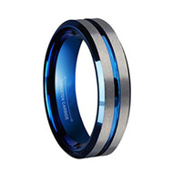 6mm - Unisex, Women's or Men's Tungsten Wedding Band. Gray and Blue Ring. Matte Finish Tungsten Carbide Ring with  Beveled Edges.