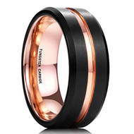 8mm - Unisex or Men's Wedding Band. Black Matte Finish Tungsten Carbide Ring with Rose Gold Beveled Edge Men's Wedding Band