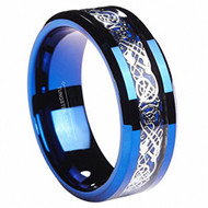 8mm - Unisex or Men's Wedding Band. Blue Carbon Fiber Blue Celtic Knot Tungsten Carbide Ring Wedding Band