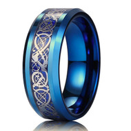 8mm - Unisex or Men's Wedding Band. Blue Resin Inlay Blue Celtic Knot Tungsten Carbide Ring Wedding Band