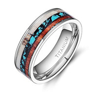 8mm - Unisex or Men's Wedding Bands. Tri Color - Titanium Ring Wedding Bands Turquoise Wood Inlaid. Comfort Fit Light Weight. Silver Tone