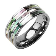 8mm - Unisex or Men's Wedding Bands. Light Weight Triple Multi Color Rainbow Abalone Shell Inlay Ring - Silver Tone Titanium Steel Ring Band (Organic colors) Light Weight Ring.