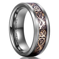 8mm - Unisex or Men's Tungsten Wedding Band. Celtic Wedding Band - Silver Resin Inlay Rose Gold Celtic Knot Tungsten Carbide Ring