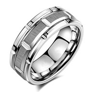 8mm - Unisex or Men's Wedding Band. Silver Tone Brick Pattern Tungsten Wedding Band Ring Comfort Fit